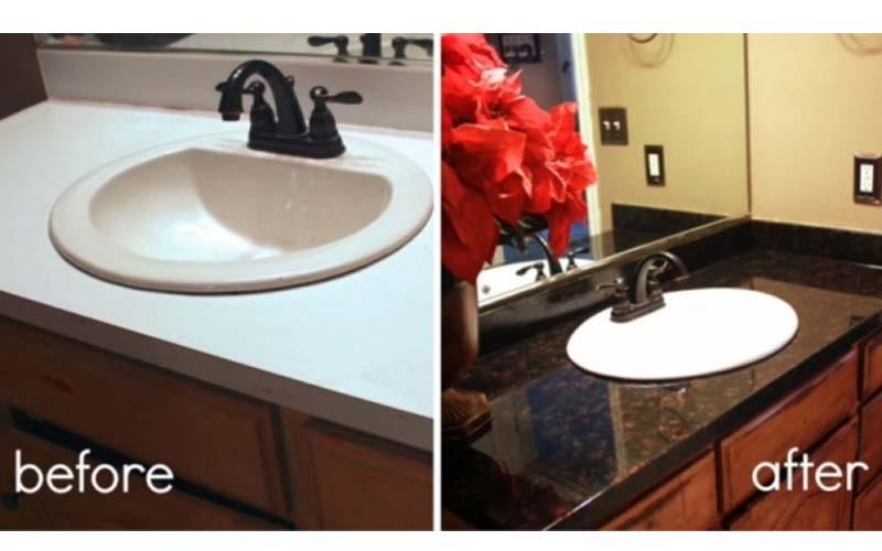 男子只花台幣1800元動手將家中老舊洗手台變身成豪華飯店風格洗手台!實在是太強大了!  -