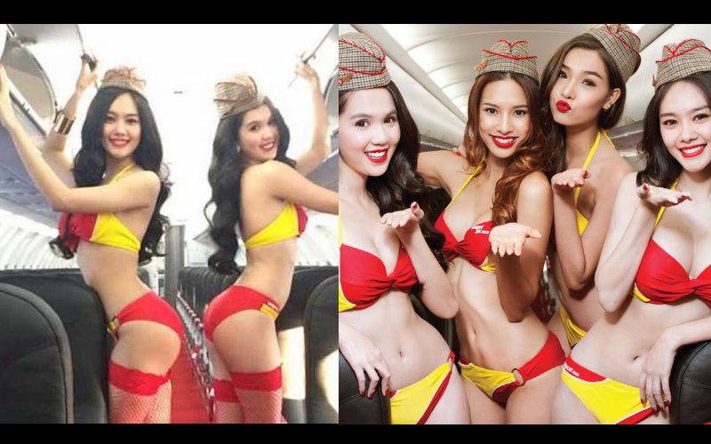 越南這家航空公司堆出了「性感比基尼空姐」的服務!!讓人看了不禁都想到越南做生意了…  -