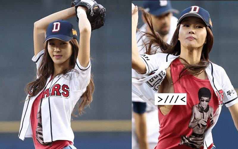 南韓美女職棒開球,回家卻差點崩潰!因為她丟球時竟然不小心「露出這個」!  -