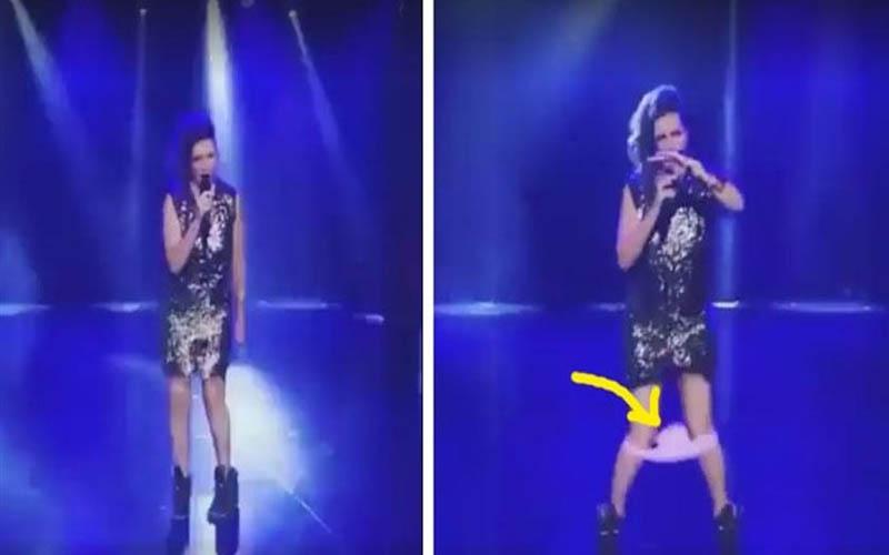 真的是用生命在跳!她在台上表演到一半內褲居然就滑下來了!發現後的超快速反應真是讓人笑噴