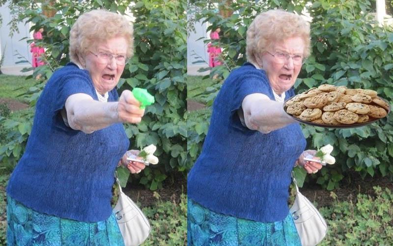 一張「奶奶玩水槍」照片被網友瘋狂神改,奶奶表情太有戲了!笑死XD