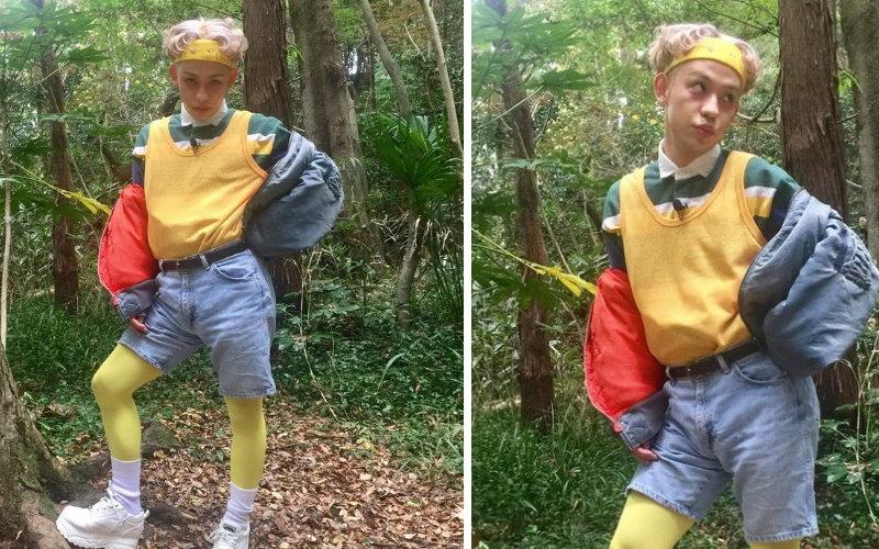 這照片裡有不乾淨的東西!日本藝人在森林裡拍照,網友驚見後方有「人臉」?放大一看:我要收驚...!