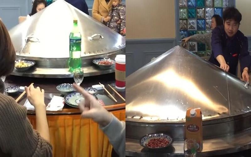 餐桌上蓋了一個大鐵蓋看起來超突兀…當掀開的一瞬間讓所有人忍不住驚呼:太狂!(影)