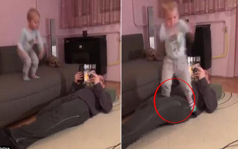 躺著也中槍!小男孩往爸爸「那裡」用力一跳…大人笑到全失控:壞掉了XD(圖+影)