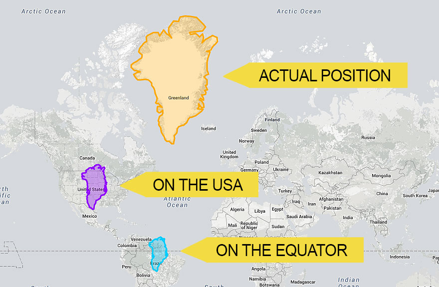 格陵兰岛如果往南移动到美国以及赤道位置,在地图上看起来是这样的图片