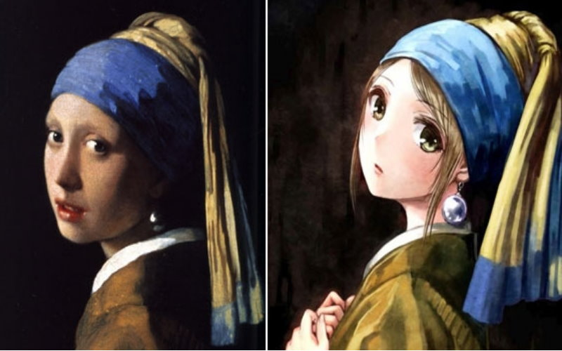 7幅「經過日本插畫家二次創作變成漫畫風後反而萌炸」的世界名畫。  -